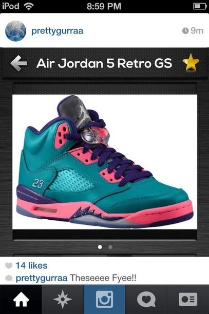 shoes jordans air jordan jordan's jordans pink blue neon galaxy print retro retro 5