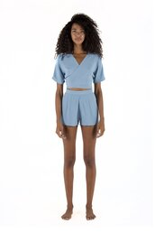 shorts,short with zip,sapia simone,sky blue,light blue shorts,bikiniluxe,top,wraps at the front,crop tops