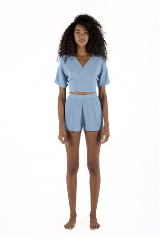 shorts short with zip sapia simone sky blue light blue shorts bikiniluxe top wraps at the front crop tops