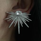 jewels,diamonds,earrings,bridal earrings,swarovski,crystal earrings,body kandy couture,cluster,silver jewelry,bridal bijoux,les bijouteries,studs,studded,spike earring,stud earrings,arrow stud earrings