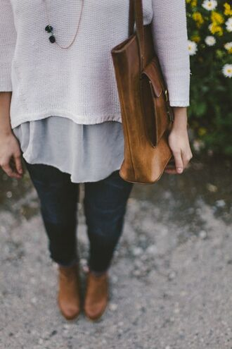 sweater combat combatboots necklace bag brown bag cute indie happy shirt white pairing fall outfits gray