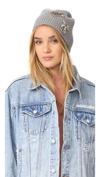 embellished hat grey