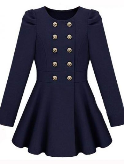 Girl Navy Long Sleeve Double Breasted Flare Hem Wool Coat ...
