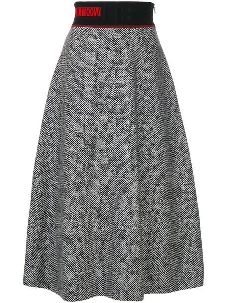 Fendi skirt plaid skirt women spandex plaid silk wool grey