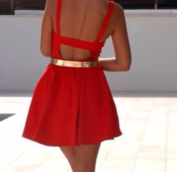 dress red dress red gold belt metal gold waist belt