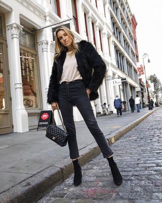 jacket tumblr black jacket fur jacket faux fur jacket denim jeans black jeans boots black boots ankle boots