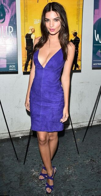 dress blue blue dress emily ratajkowski sandals summer dress summer outfits plunge dress shoes suede
