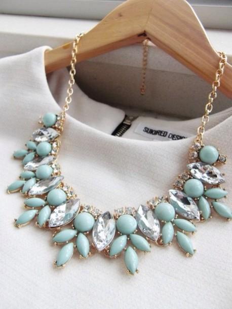 jewels collar mint statement t-shirt necklace blue gold diamonds white bleu diamonds neck light grey juwel beautiful jewelry turquoise jewelry turquoise blue necklace