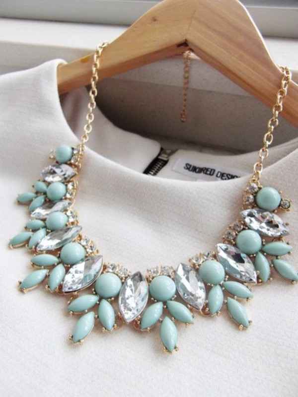 jewels mint blue necklace statement necklace white dress top necklace mint necklace mint green necklace collar mint statement t-shirt gold diamonds bleu diamonds neck light grey juwel beautiful jewelry turquoise jewelry turquoise blue necklace gemstone aquamarine