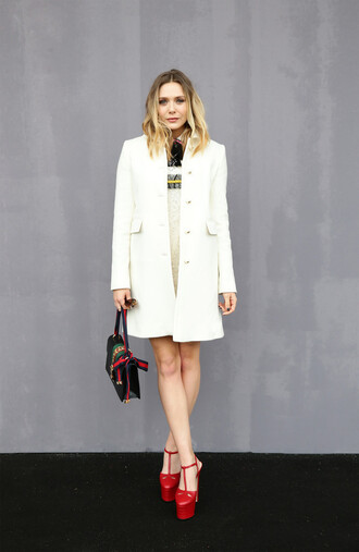 coat milan fashion week 2016 elizabeth olsen platform sandals dress mini dress purse fashion week 2016