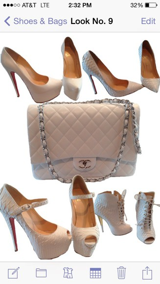 chanel bag christian louboutin giuseppe zanotti all white everything