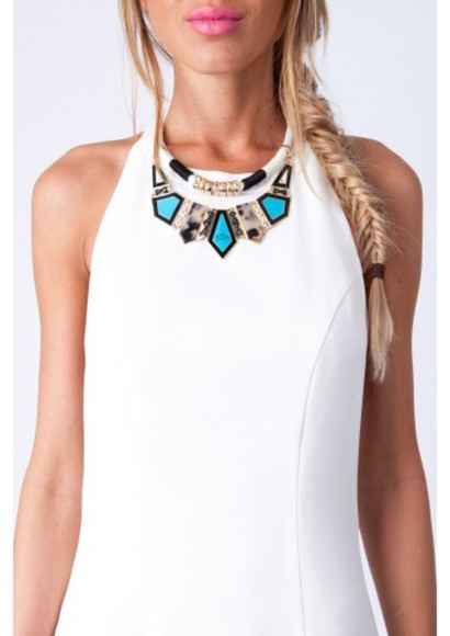 jewels gold rope white black white rope turquoise white rope turquoise stone stones white rope with stones high neck collar necklace rope necklace white rope necklace