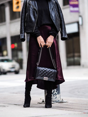 skirt,tumblr,silk,midi skirt,purple,bag,black bag,quilted bag,boots,black boots,sweater,black sweater,jacket,black jacket,black leather jacket,leather jacket