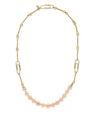 pearl necklace gold yellow jewels