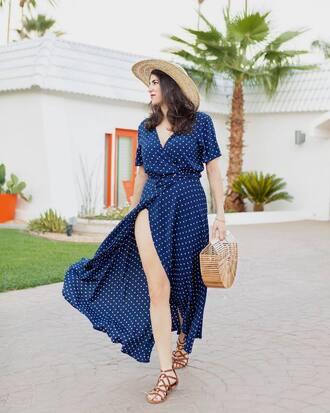 dress hat tumblr wrap dress blue dress polka dots summer dress maxi dress slit dress sandals flat sandals bag basket bag sun hat