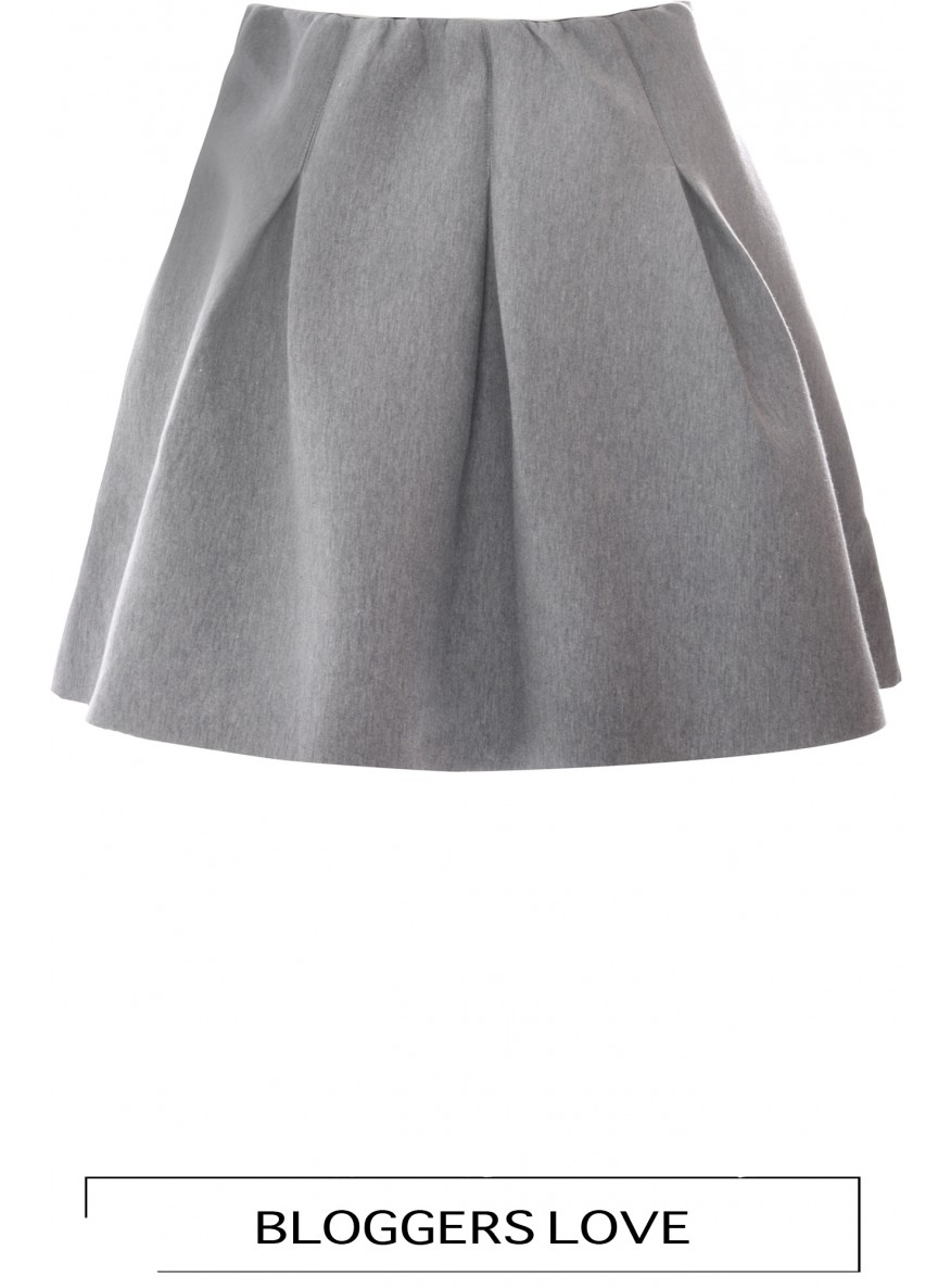 Marl Structured Flared Skirt With Burgundy Lining