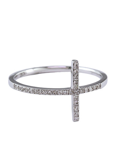 Jewelry & Accessories | Fine Jewelry | Pave Classica 14 Kt. White Gold Diamond Horizontal Cross Ring | Lord and Taylor