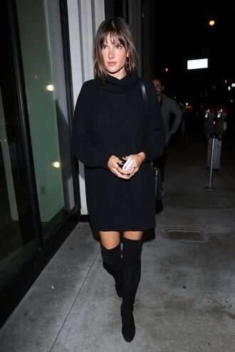 sweater sweater dress all black everything boots model off-duty over the knee boots alessandra ambrosio