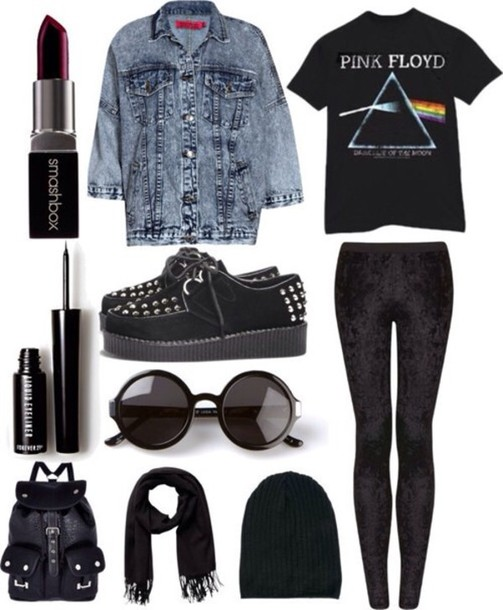 sunglasses black pants jacket bag