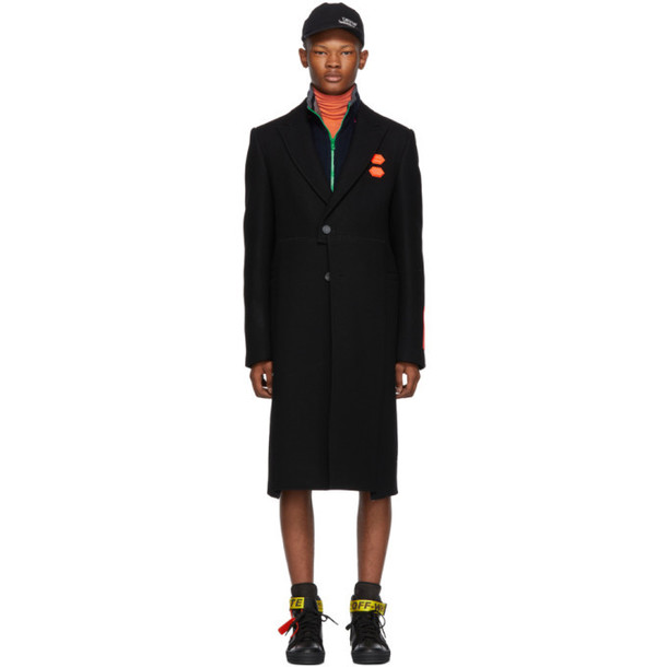 Off-White Black Wool Logo Patch Coat