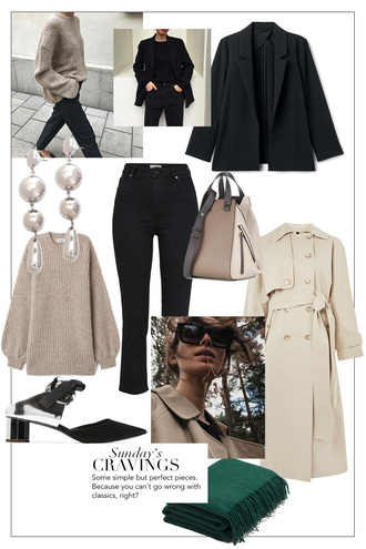 teetharejade blogger jacket jewels coat bag sweater jeans shoes scarf fall outfits trench coat blazer black jeans