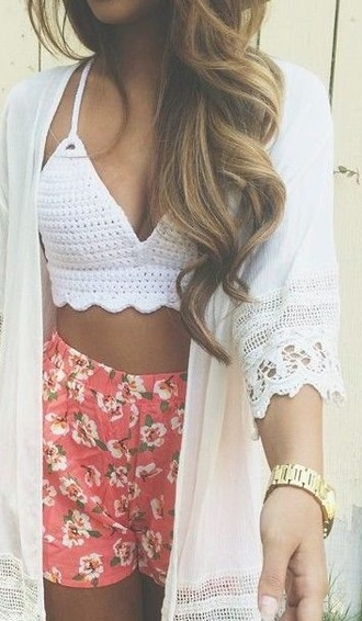 top lace kimono lace cardigan crop tops crochet crop top bralette cardigan kimono shorts flowered shorts