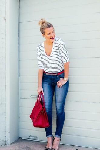 the courtney kerr blogger t-shirt jeans shoes belt bag jewels