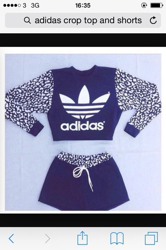 jumpsuit leapord print crop tops adidas tracksuit bottom adidas shirt comfortable black top two-piece