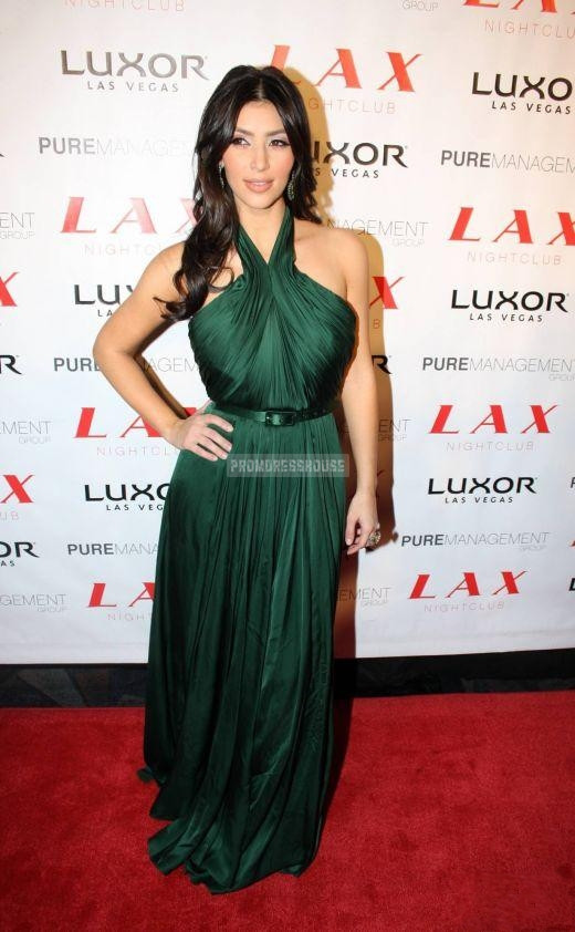 Floor Length Ruched Green Halter Column Chiffon Celebrity Dress - Promdresshouse.com