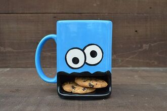 jewels blouse blue cool sweet home accessory cup milk cookie monster chocolate chip cookie tea cup yummy mug kitchen food funny