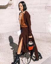 dress,asymmetrical dress,v neck dress,long sleeve dress,midi dress,printed shirt,high heels boots,sock boots,handbag