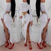 redheels,redshoes,red high heels,crop tops,white crop tops,white skirt,ankle strap heels,ankle strap,high heels,pointed toe heels,two-piece,badd,bad girls club,dress,elegant dress,elegance,t-shirt,skirt,shorts,white,long skirt,belt,maxi skirt,red lipstick,top