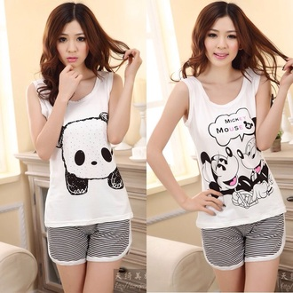 pajamas cute panda fashion stripes asian kawaii girly