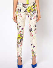 jeans,pants,white,color/pattern,printed pants,flowers