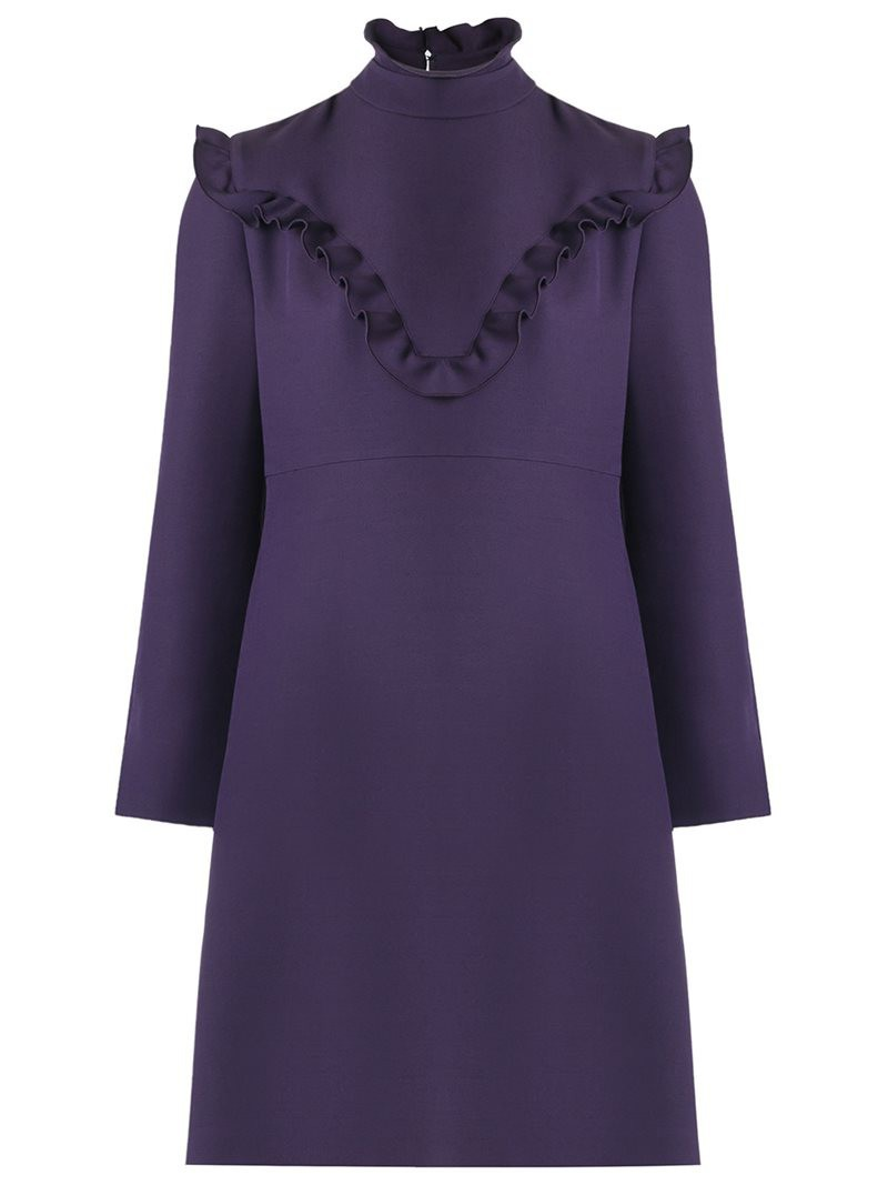 Fendi frill trim dress, Women's, Size: 44, Pink/Purple, Wool/Silk