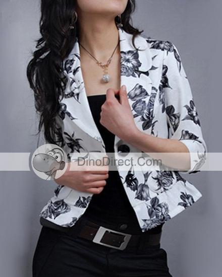 Women cotton & polyester snap down flower print blazers jackets