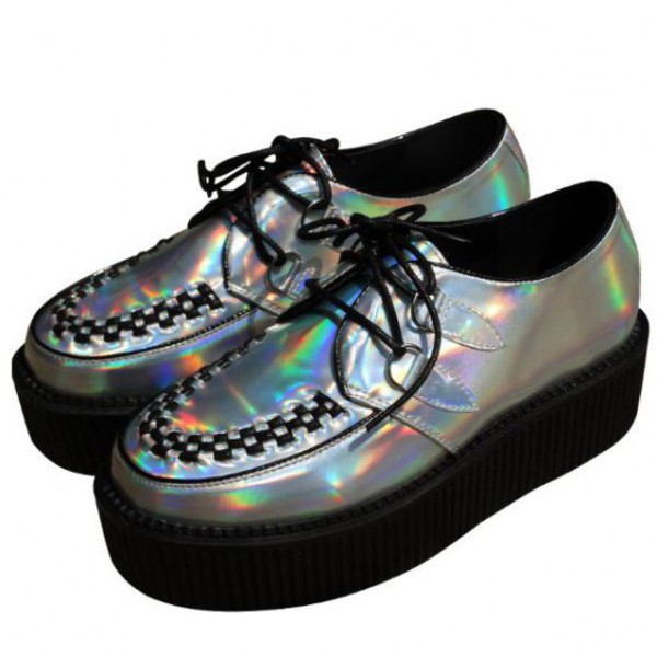 shoes holographic fashion style trendy cool creepers black boogzel
