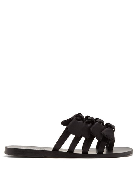 Ancient Greek Sandals bow embellished satin black shoes