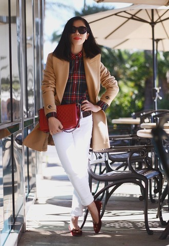 hallie daily blogger plaid shirt camel coat office outfits red bag quilted bag charlotte olympia