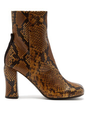 leather ankle boots,python,ankle boots,leather,brown,shoes
