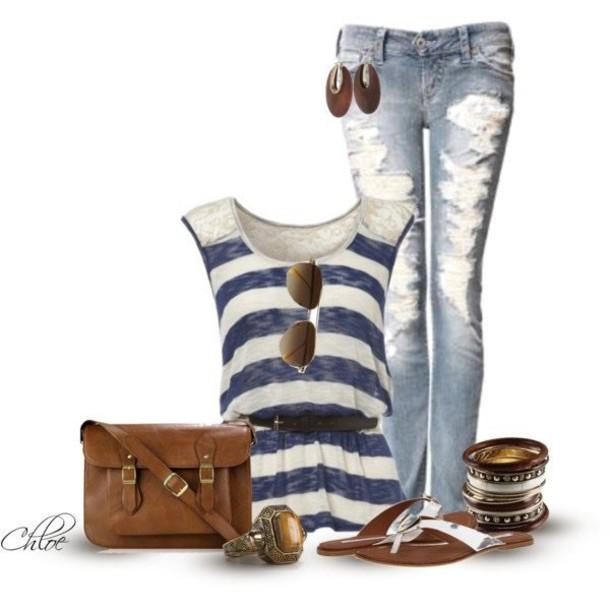 top bag belt jewels jeans shoes sunglasses