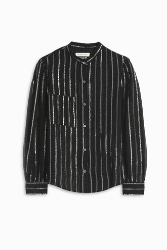 shirt stripe shirt black top