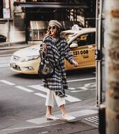 shoes,mules,white pants,wide-leg pants,cropped pants,coat,wool coat,checkered,beret,sunglasses,shoulder bag