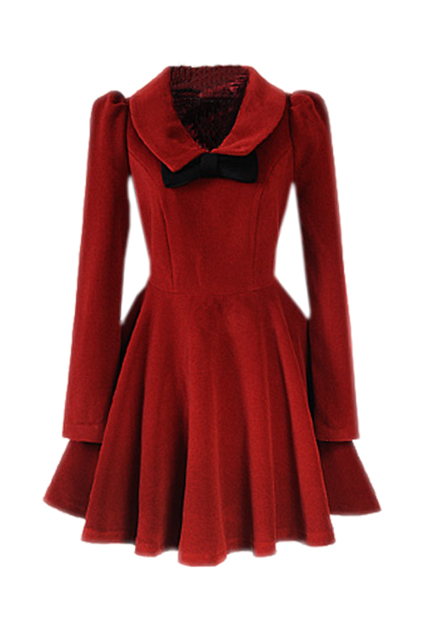 ROMWE | Dark Red Bowknot Pleats Woolen Dress, The Latest Street Fashion