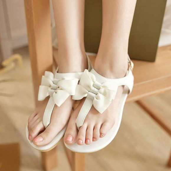 shoes sandal flats bowknot