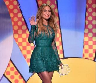 jennifer lopez elie saab lace dress long sleeve dress short prom dress green dress a-line dresses forest green dress