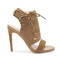Brown suede high heel sandals