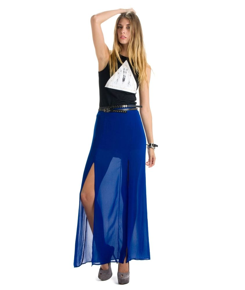 213539322a Chiffon Royal Blue Maxi Skirt