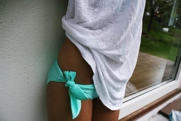 swimwear mint bikini aqua bottoms shirt