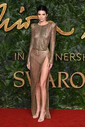 dress,gold,metallic,kendall jenner,kardashians,model,slit dress,see through,see through dress,sexy dress